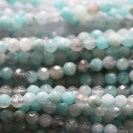 Amazonite 3.5/4 mm perle ronde facetée