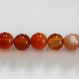 Natural carnelian 10 mm round bead Madagascar