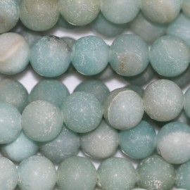 Amazonite 6 mm perle ronde mat