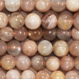 Sun stone mixed 6 mm round pearl