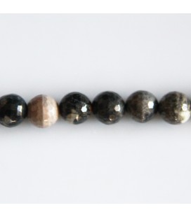 BeauMonde Jewelry - Jasper 8 mm round faceted bead black silver leaf