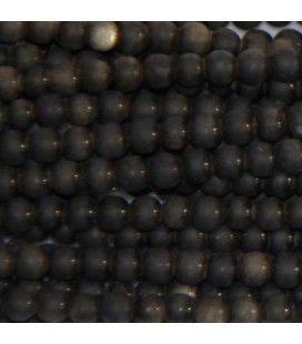 BeauMonde Jewelry - Obsidian gold 4 mm round matte bead Mexico