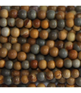 BeauMonde Jewelry - Jasper Wildhorse 4 mm round matte bead mustard/grey