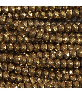 Light golden hematite 3x4.1 mm faceted washer