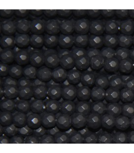 Agate black 4 mm matte faceted round bead