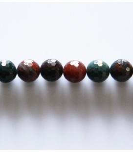 BeauMonde Jewelry - Jasper 8 mm round faceted bead blood stone (sanguin)