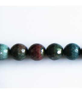 BeauMonde Jewelry - Jasper 10 mm round faceted bead blood stone (sanguin)