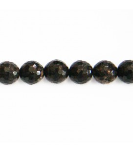 BeauMonde Bijoux - Obsidienne golden black 8 mm perle ronde facettée Mexique