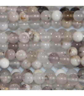 Agate 6 mm round bead white grey mixed