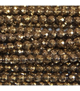 Hematite golden light 4 mm round faceted bead