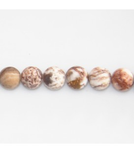 BeauMonde Jewelry - Agate crazy 8 mm round bead red/white matte