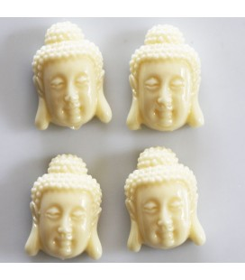 Howlite imitation 16x24mm ivory flat Buddha head (powder + resin)