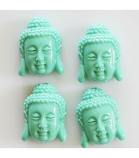 Howlite imitation 27x18mm flat turquoise Buddha head (powder + resin)