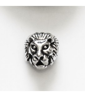 12x11 mm lion head aged silver metal