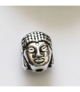 Buddha head 11x9 mm aged silver metal