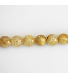 BeauMonde Jewelry - Quartz rutile golden 8 mm round bead