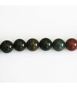 Jasper blood stone 8 mm round bead (sanguin)