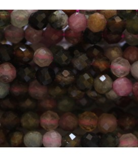 Tourmaline multi 3 mm faceted round bead