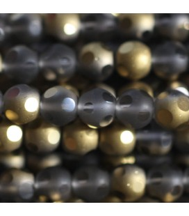 Glass bead 6 mm round matte/brilliant large facets