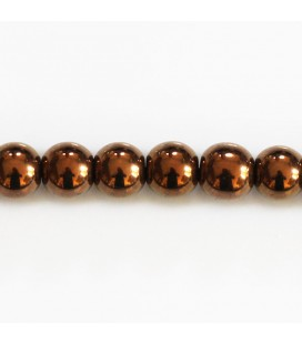 Hematite 8 mm copper round bead