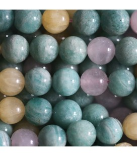 Multi pierres 8 mm perle ronde amazonite jade jaune quartz rose