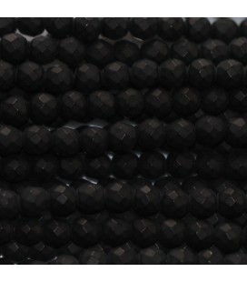BeauMonde Jewelry - Agate black 3 mm matte faceted round bead