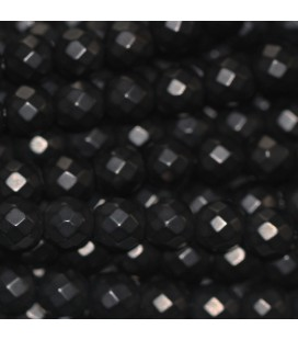 BeauMonde Jewelry - Agate black 6 mm matte faceted round bead