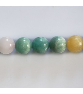 Multi pierres 10 mm perle ronde amazonite jade jaune quartz rose