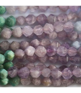 Multi pierres 6 mm perle ronde facettée (grandes facettes) amethyste aigue agate amazonite morganite