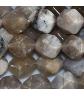 BeauMonde Jewelry - Agate 10 mm round faceted bead fossil ocean (large facets)