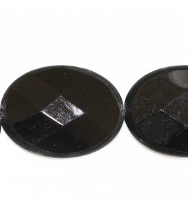 BeauMonde Jewelry - Agate black 30x40 mm oval faceted matte contour