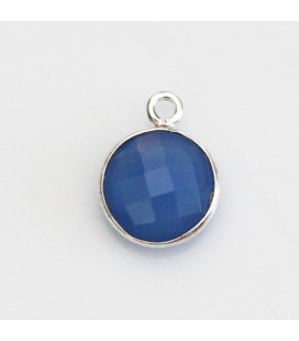 Agate blue 10 mm faceted medallion 1 ring