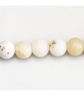 Opal 10 mm round white milky mixed bead Africa