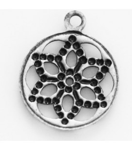 BeauMonde Jewelry - Medal 12mm flat pendant silver metal aged