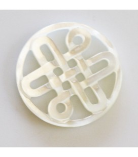 BeauMonde Jewelry - White mother-of-pearl 20 mm Chinese medallion