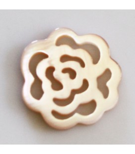 Pink mother-of-pearl 14 mm flat rose pattern