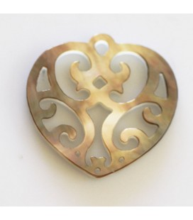 BeauMonde Jewelry - Grey mother-of-pearl 20 mm pendant heart
