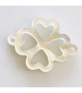 BeauMonde Jewelry - White mother-of-pearl 12 mm openwork clover 2 rings