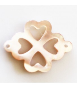 BeauMonde Jewelry - Pink mother-of-pearl 12 mm openwork clover 2 rings