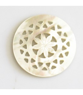 BeauMonde Jewelry - White mother-of-pearl 25 mm central star rosette