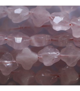 BeauMonde Jewelry - Pink quartz 10 mm flower 4 petals fine faceted