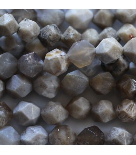 BeauMonde Jewelry - Agate 8 mm round faceted bead fossil ocean (large facets)
