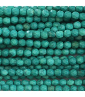 BeauMonde Jewelry - Howlite 3 mm round faceted bead (new turquoise)