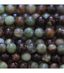 BeauMonde Jewelry - Opal green/brown 6 mm round bead Africa