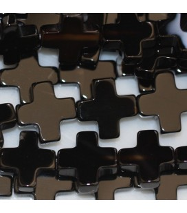 BeauMonde Jewelry - Agate black 12x12 mm cross