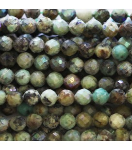 BeauMonde Jewelry - Turquoise 3.8/4 mm round faceted bead Africa