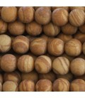 Jaspe wood 8 mm matte round pearl