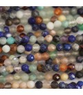 Multi stones 3.5 mm round faceted bead dominant blue