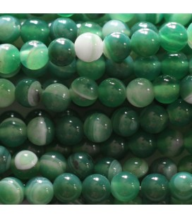 BeauMonde Jewelry - Agate 6 mm round veined green bead