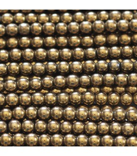 Hematite 3 mm dark golden round bead